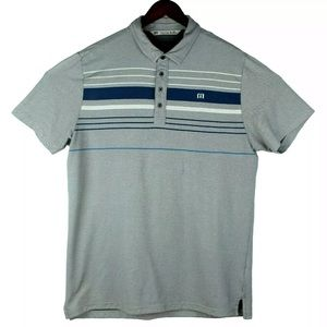 Travis Mathew Gray Blue Golf Polo Striped Shirt XL